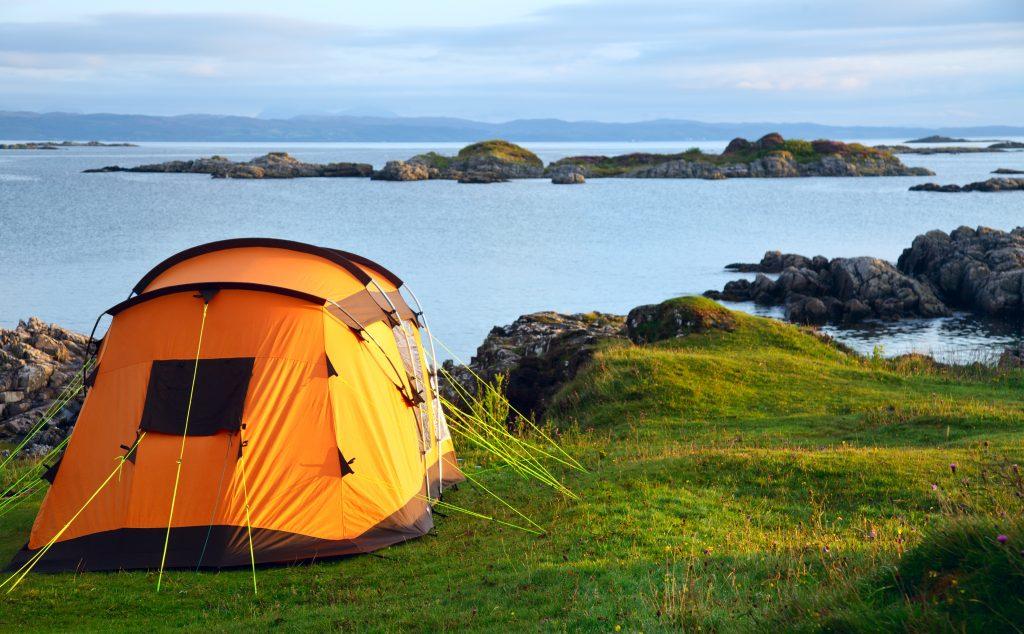 tent on ocean shore