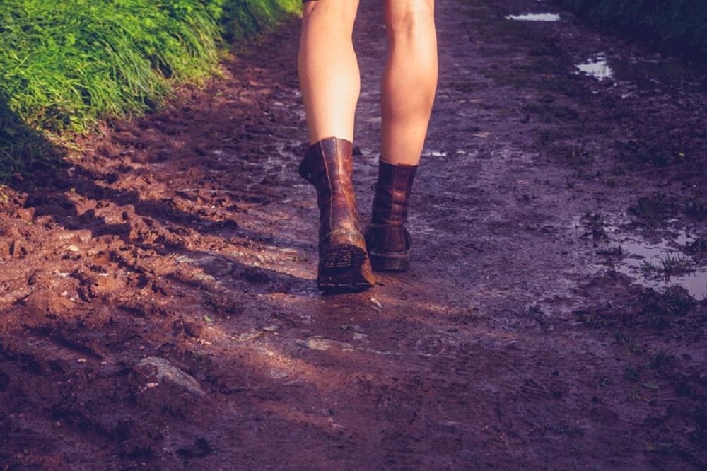 hiking on a muddy terrain