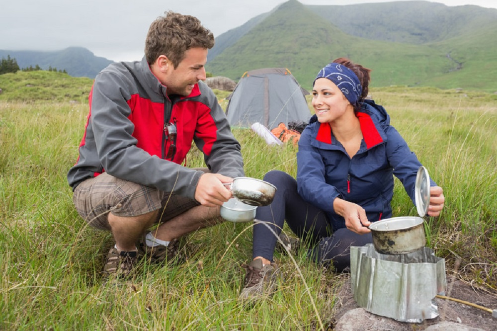 couple in their camping jacket