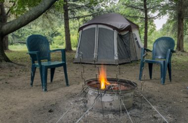 canopy tent and a campfire