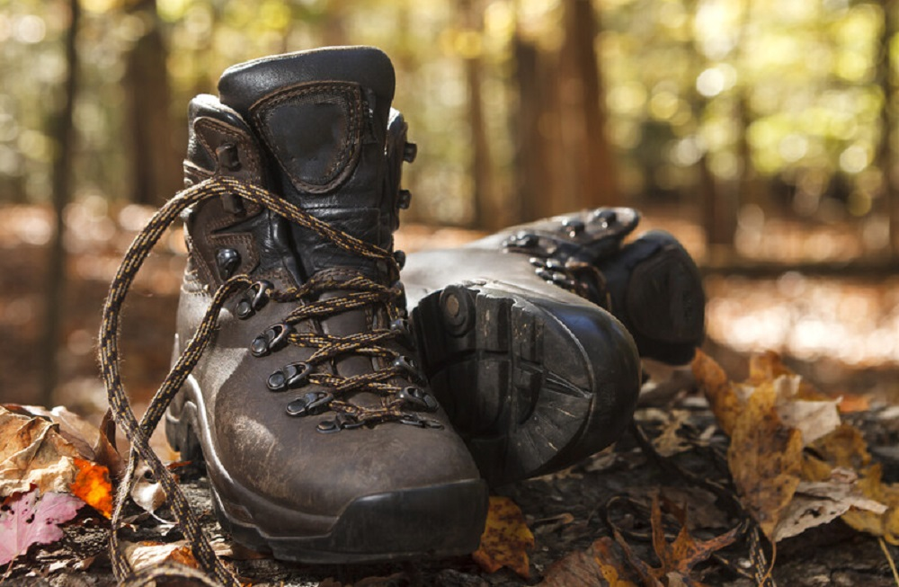 hiking boots in a forest