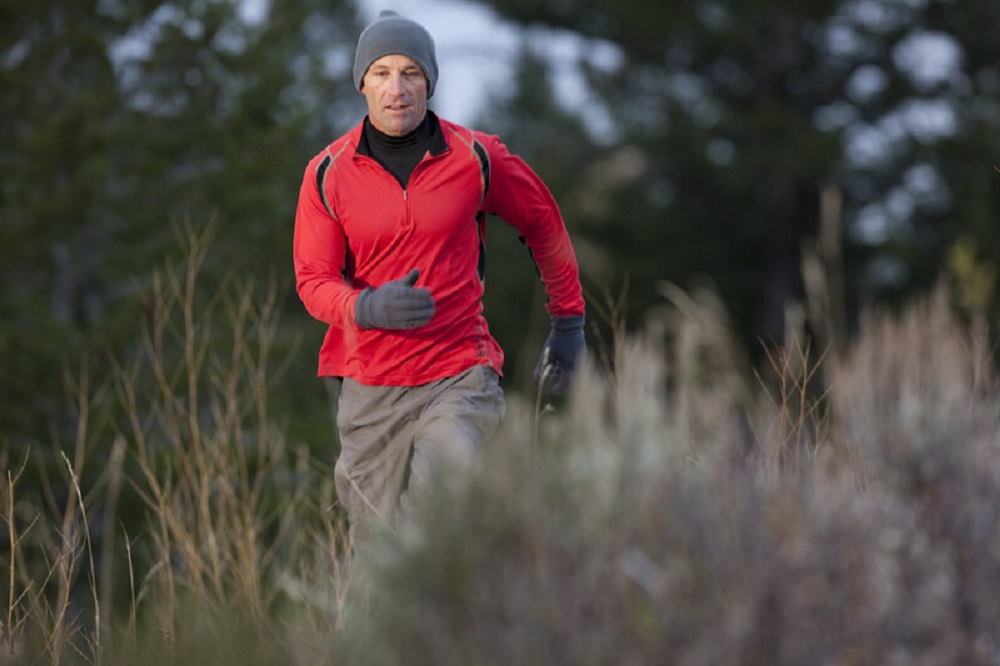 man hiking in the wilderness