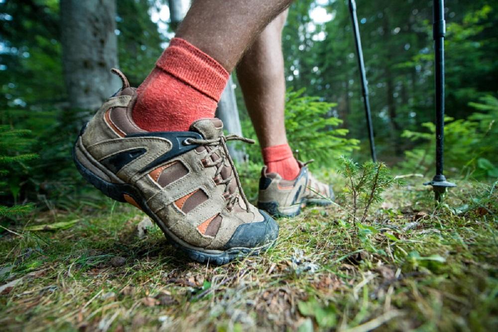 orange hiking socks