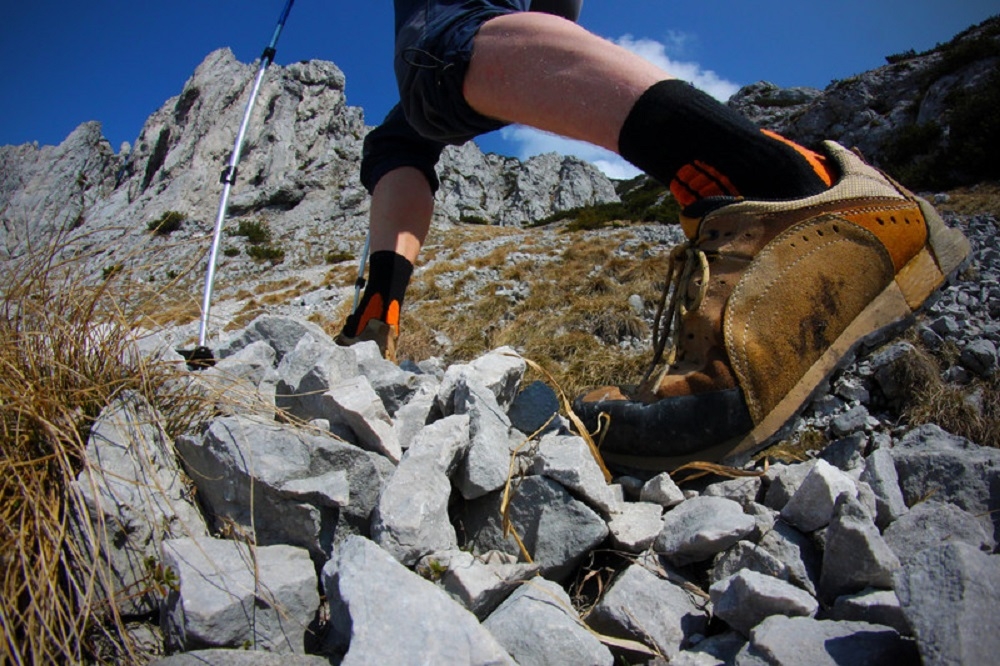 view of hiker's legs