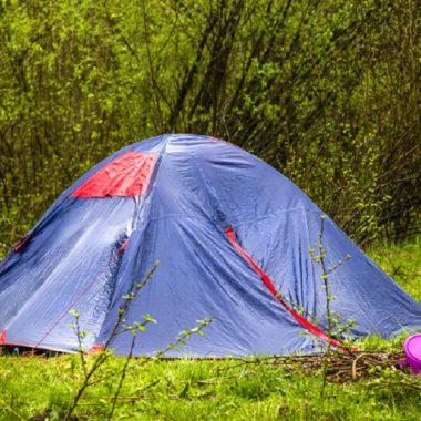 tent in a rain